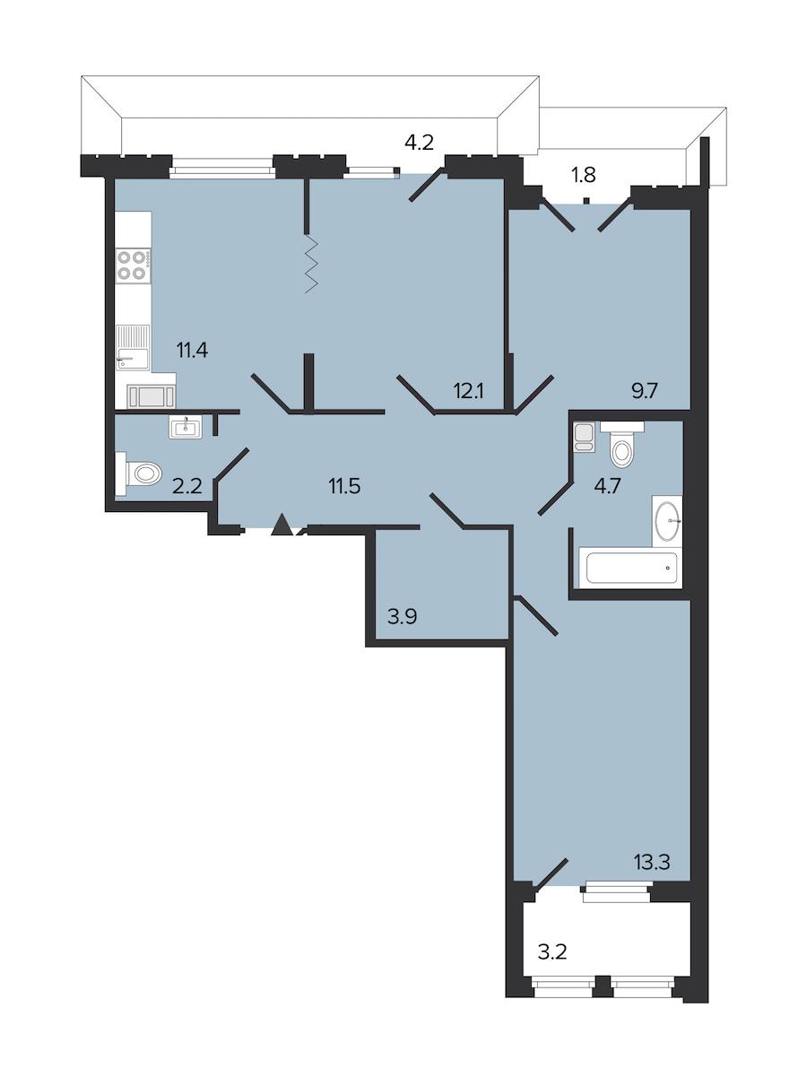 3-комнатная 69 м<sup>2</sup> на 6 этаже