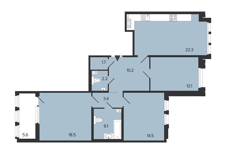 3-комнатная 91 м<sup>2</sup> на 5 этаже