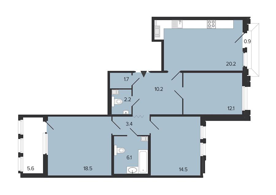 3-комнатная 89 м<sup>2</sup> на 6 этаже