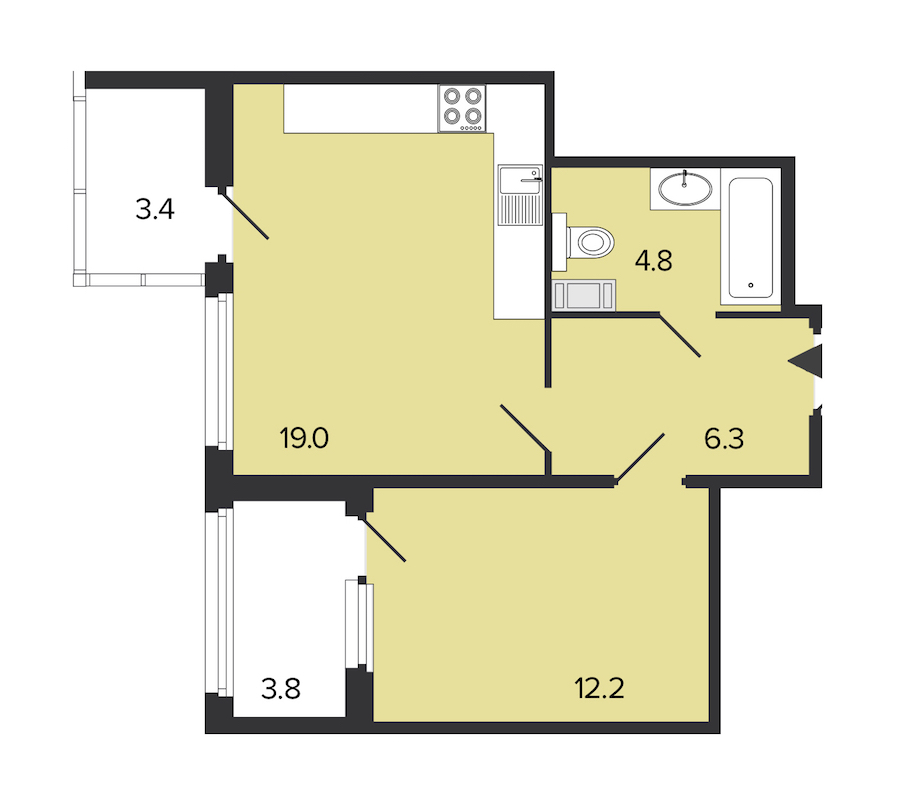 1-комнатная 42 м<sup>2</sup> на 5 этаже