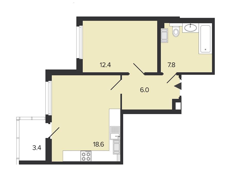 1-комнатная 45 м<sup>2</sup> на 5 этаже