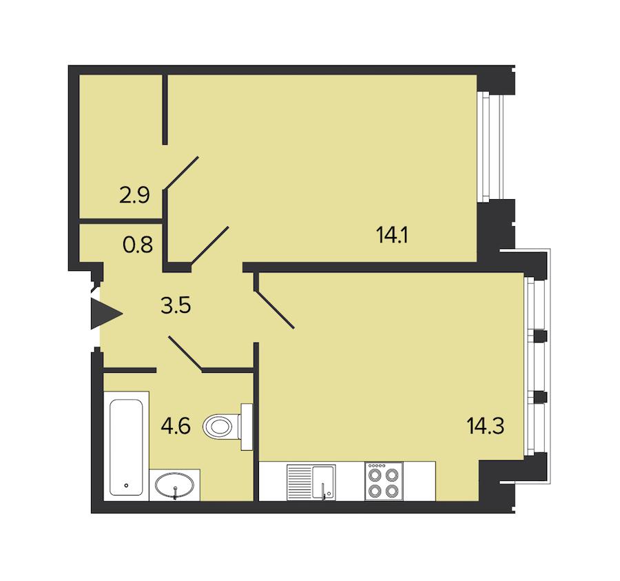 1-комнатная 40 м<sup>2</sup> на 3 этаже
