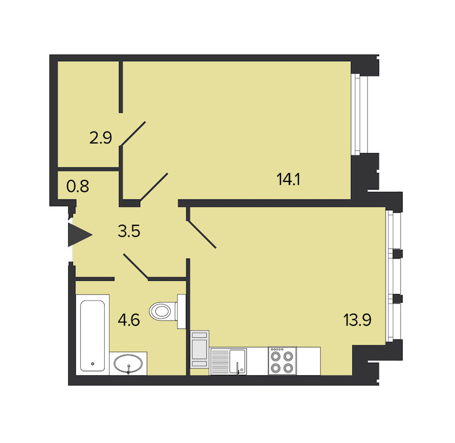 1-комнатная 40 м<sup>2</sup> на 5 этаже