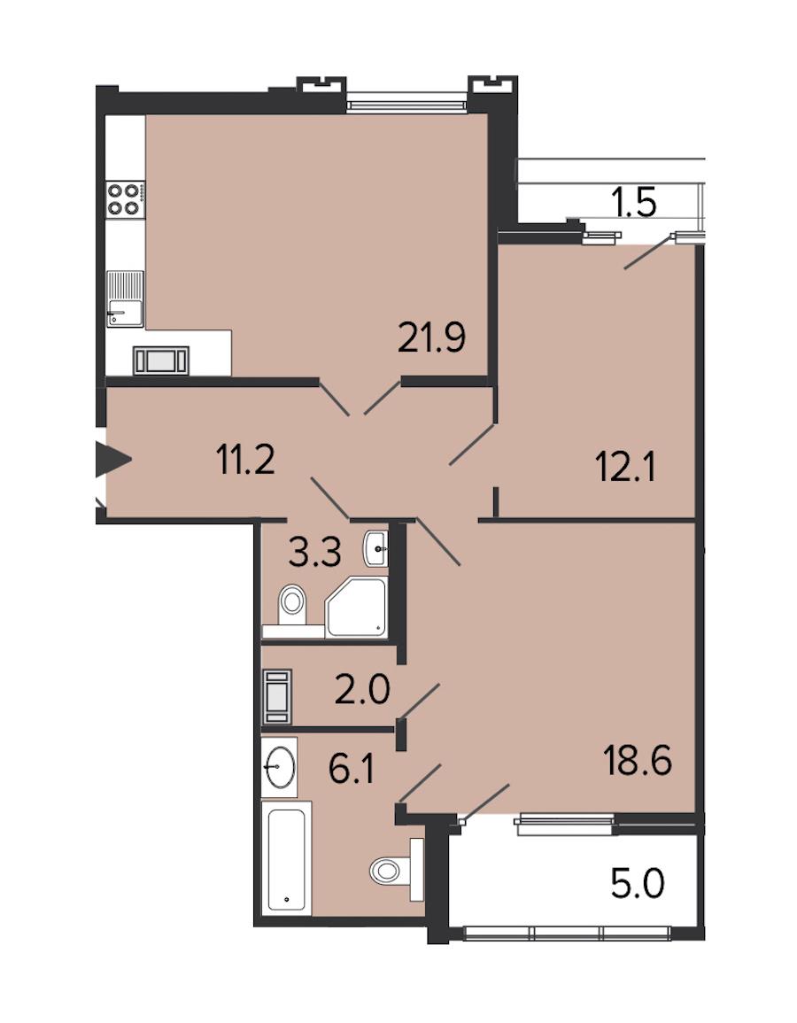 2-комнатная 74 м<sup>2</sup> на 7 этаже