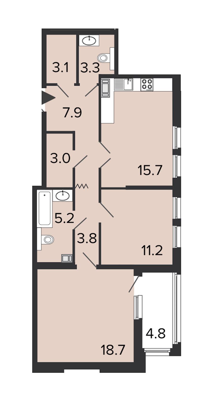 2-комнатная 71 м<sup>2</sup> на 3 этаже
