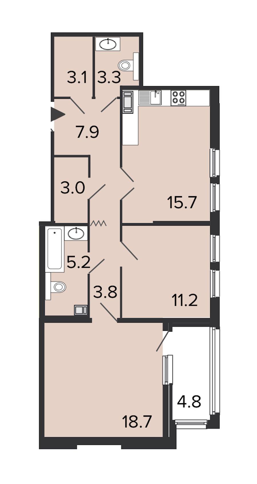 2-комнатная 71 м<sup>2</sup> на 8 этаже