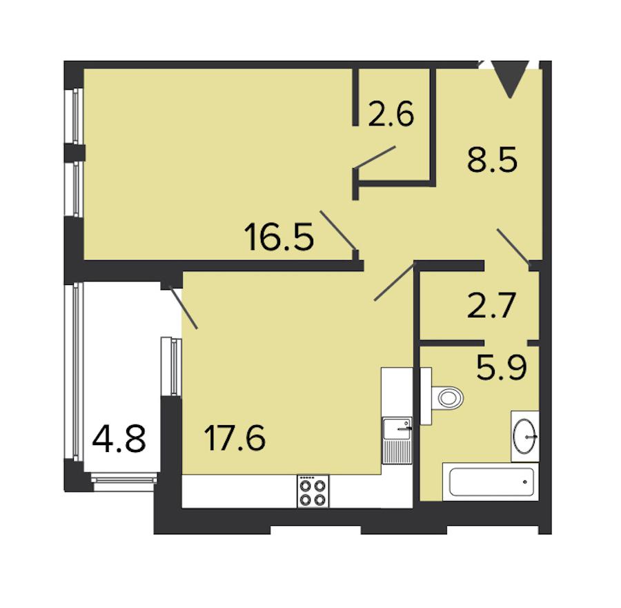 1-комнатная 54 м<sup>2</sup> на 3 этаже
