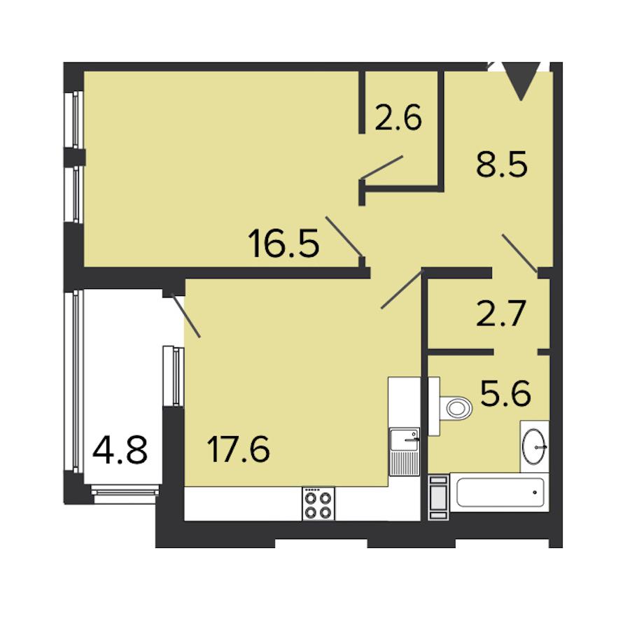 1-комнатная 53 м<sup>2</sup> на 6 этаже