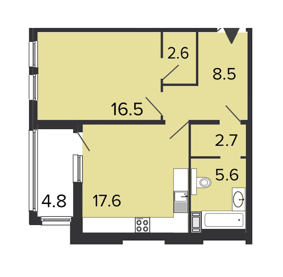 1-комнатная 53 м<sup>2</sup> на 7 этаже