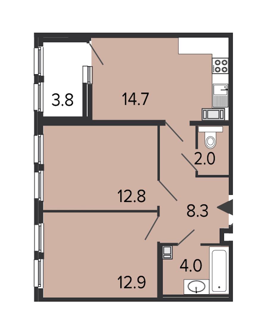 2-комнатная 54 м<sup>2</sup> на 8 этаже
