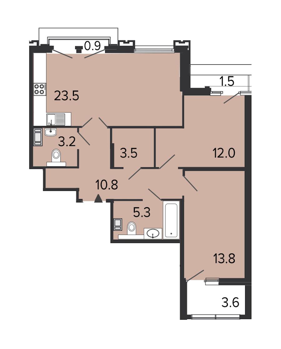 2-комнатная 71 м<sup>2</sup> на 7 этаже