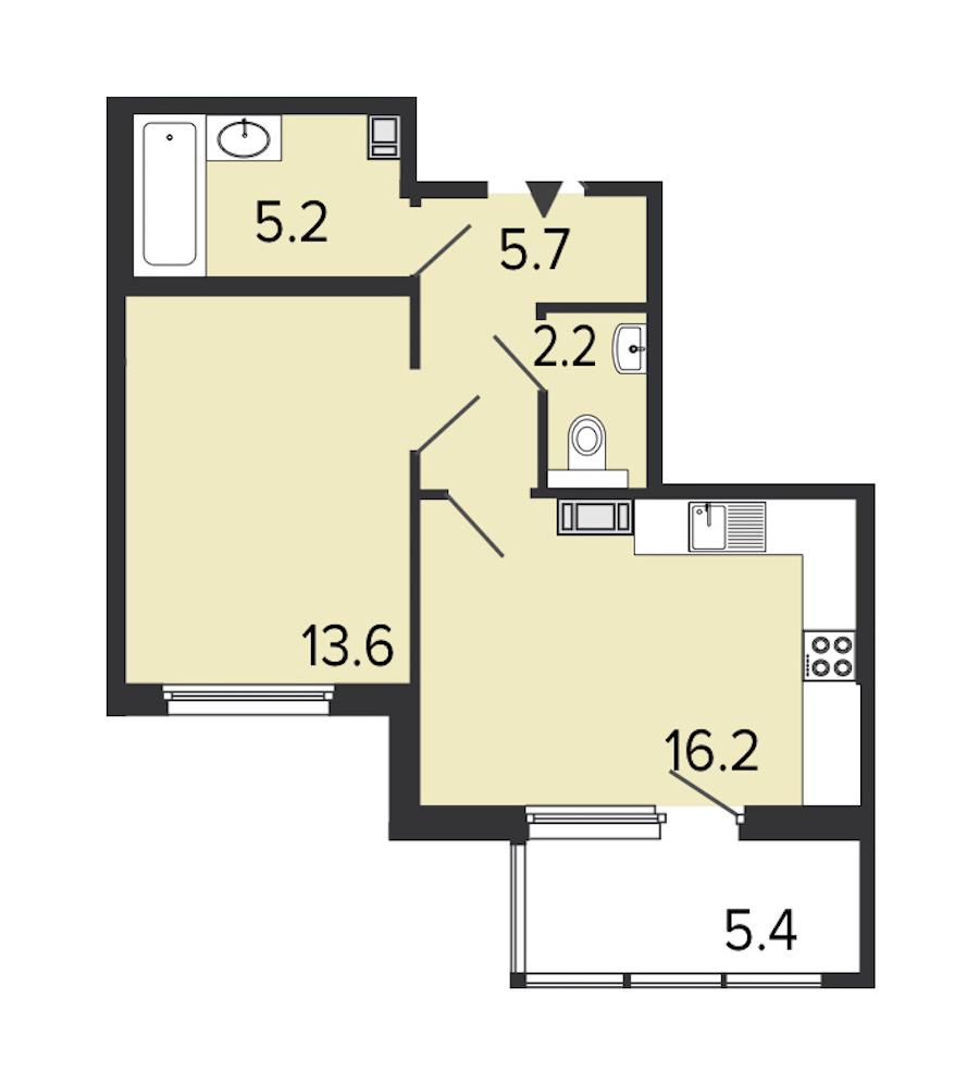 1-комнатная 42 м<sup>2</sup> на 6 этаже