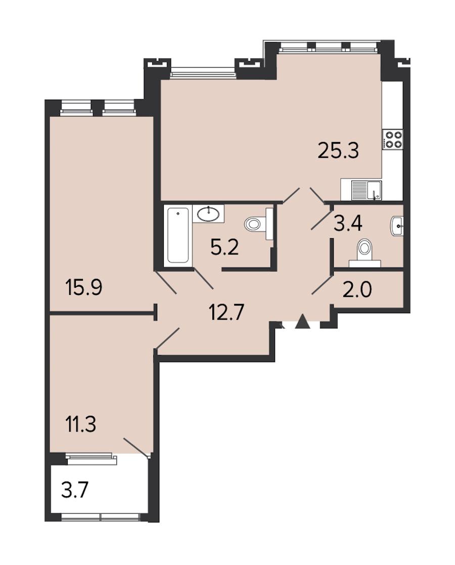 2-комнатная 75 м<sup>2</sup> на 3 этаже