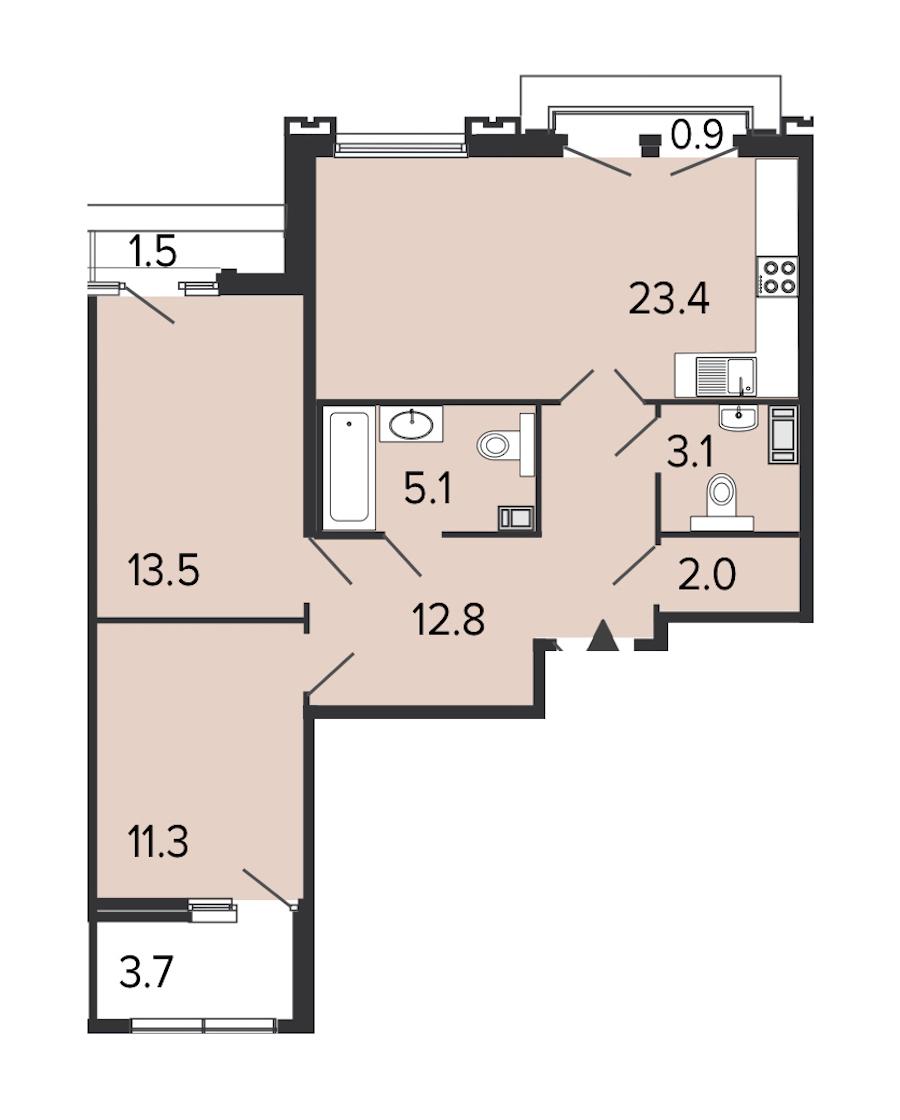 2-комнатная 70 м<sup>2</sup> на 7 этаже
