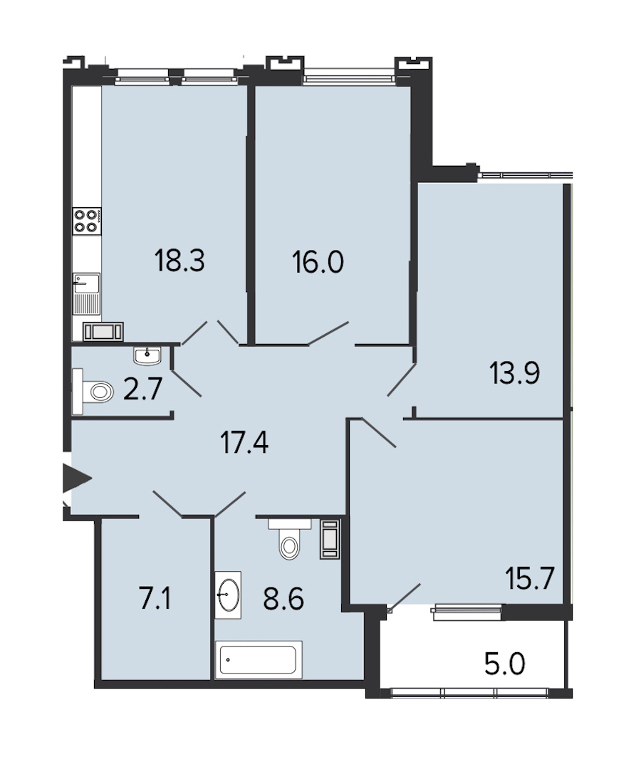 3-комнатная 99 м<sup>2</sup> на 8 этаже