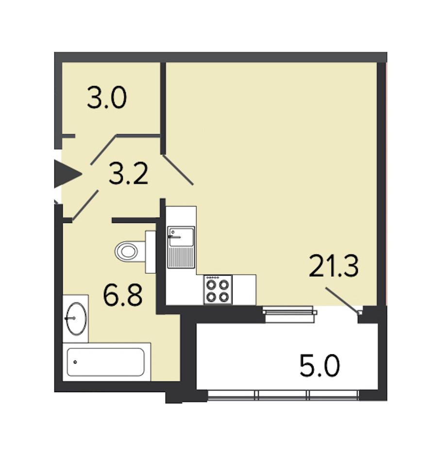 Студия 34 м<sup>2</sup> на 2 этаже