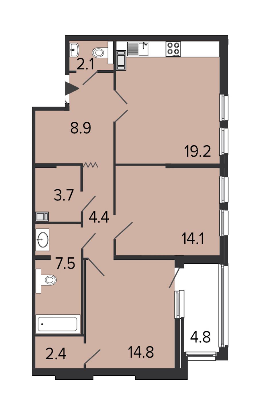 2-комнатная 76 м<sup>2</sup> на 8 этаже