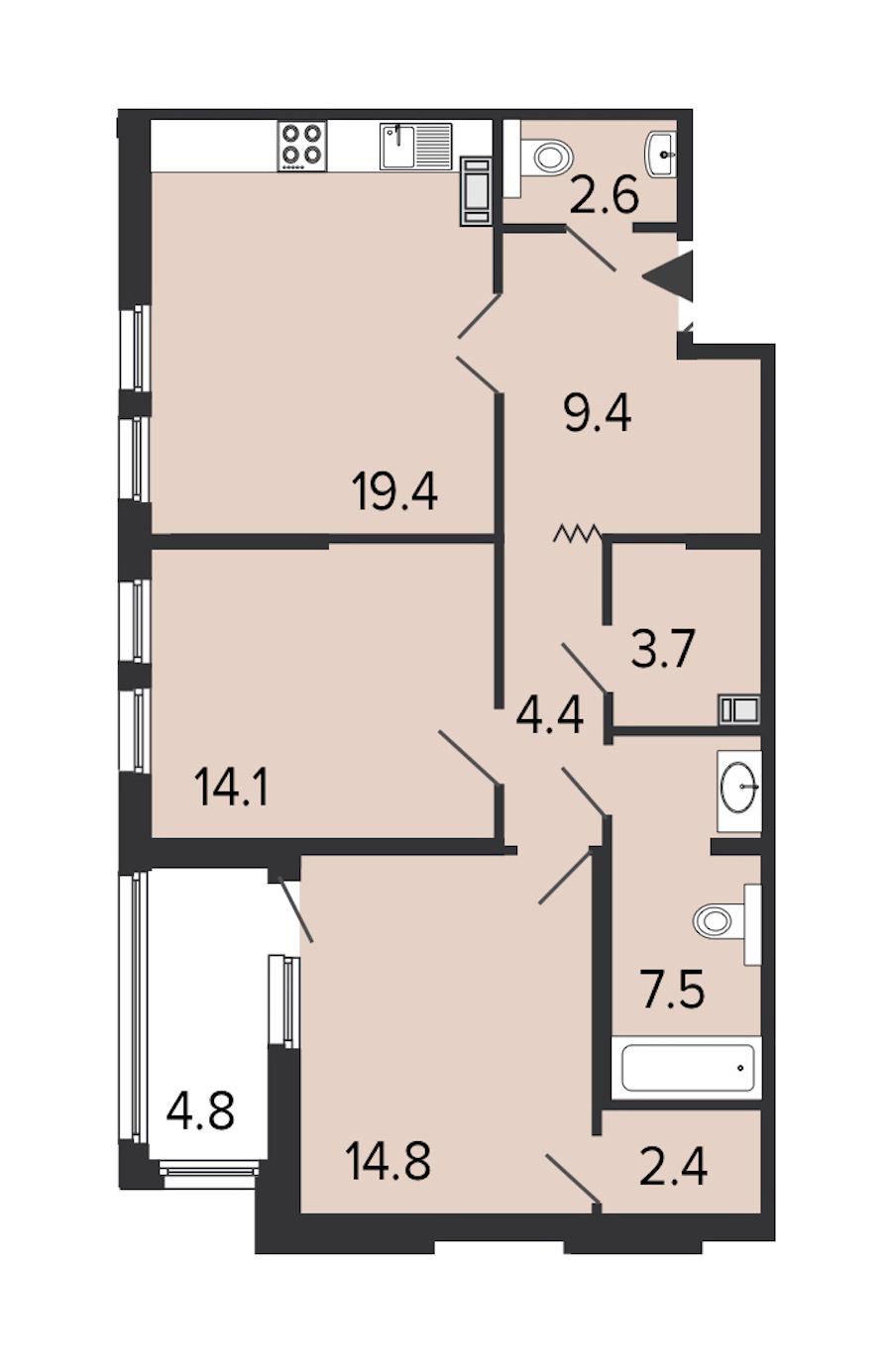 2-комнатная 77 м<sup>2</sup> на 6 этаже