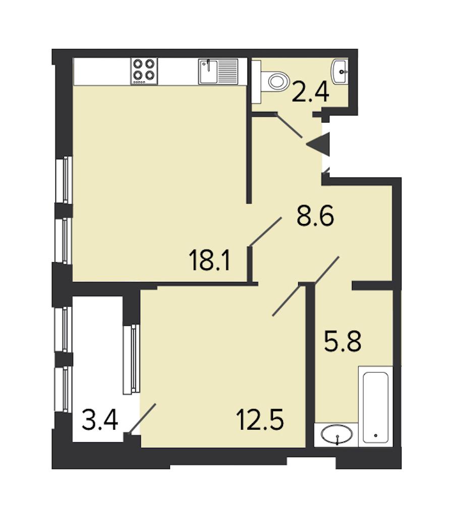 1-комнатная 46 м<sup>2</sup> на 2 этаже