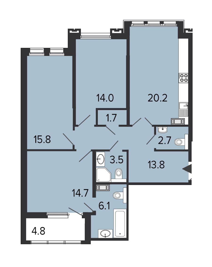 3-комнатная 92 м<sup>2</sup> на 6 этаже
