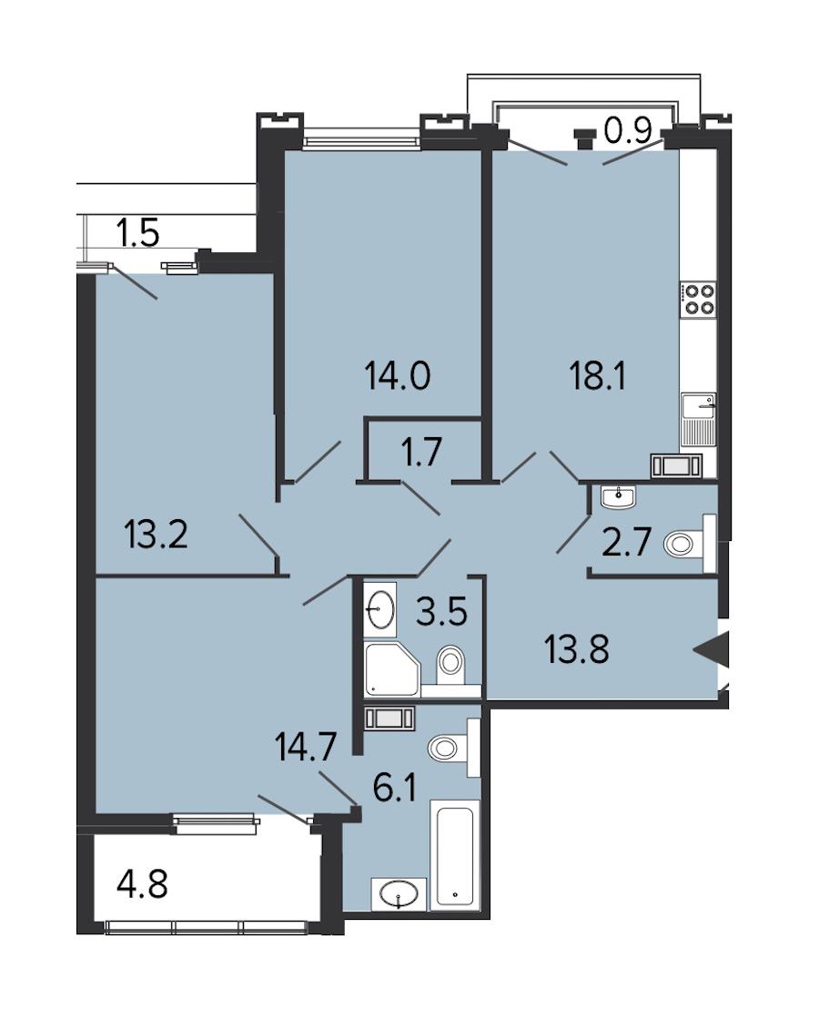 3-комнатная 87 м<sup>2</sup> на 7 этаже