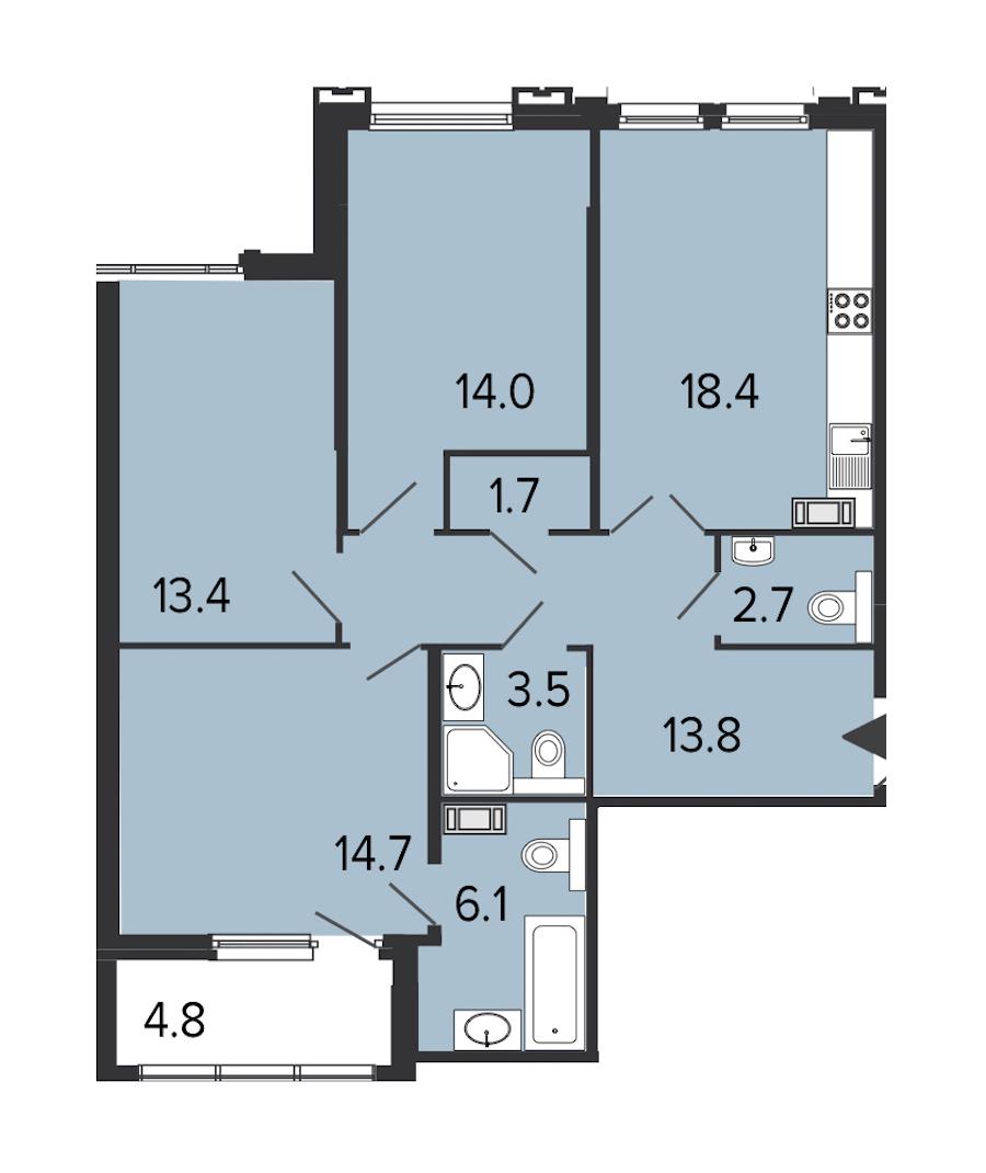3-комнатная 87 м<sup>2</sup> на 8 этаже