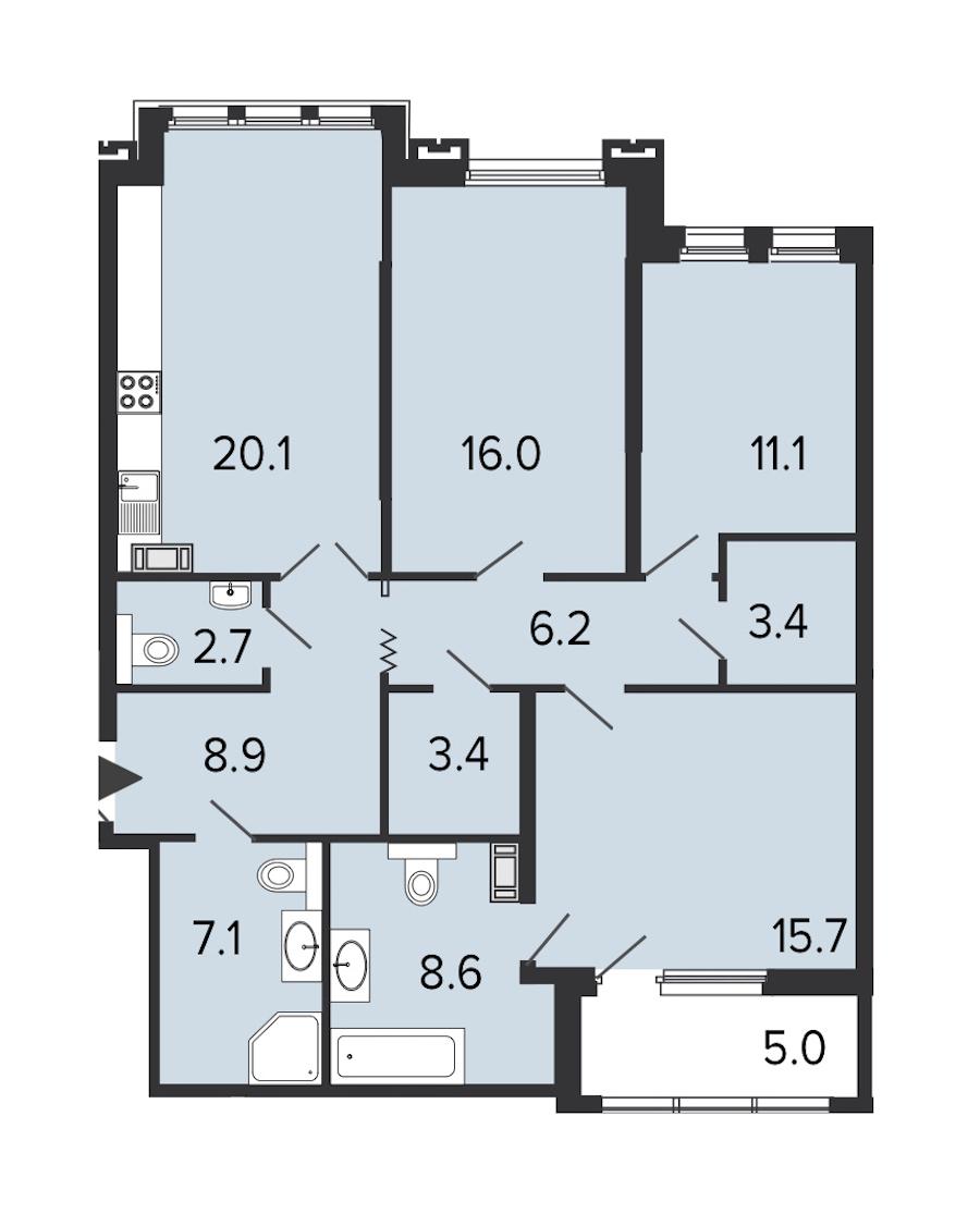 3-комнатная 103 м<sup>2</sup> на 6 этаже