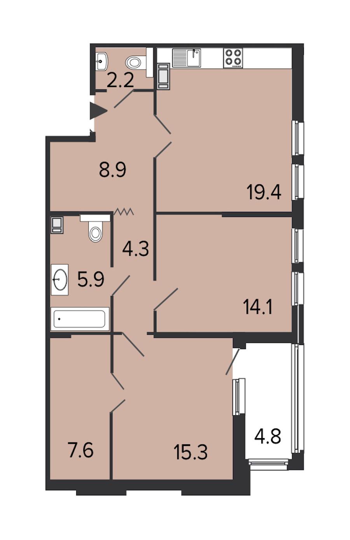 2-комнатная 77 м<sup>2</sup> на 7 этаже