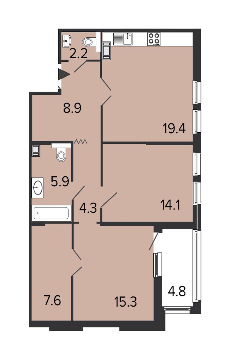 2-комнатная 77 м<sup>2</sup> на 8 этаже