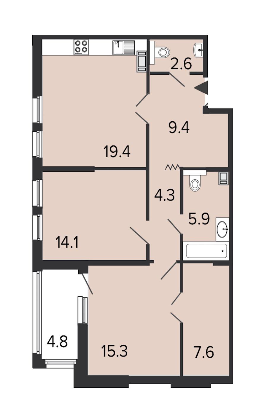 2-комнатная 78 м<sup>2</sup> на 6 этаже