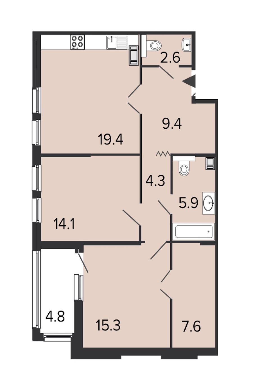 2-комнатная 78 м<sup>2</sup> на 7 этаже