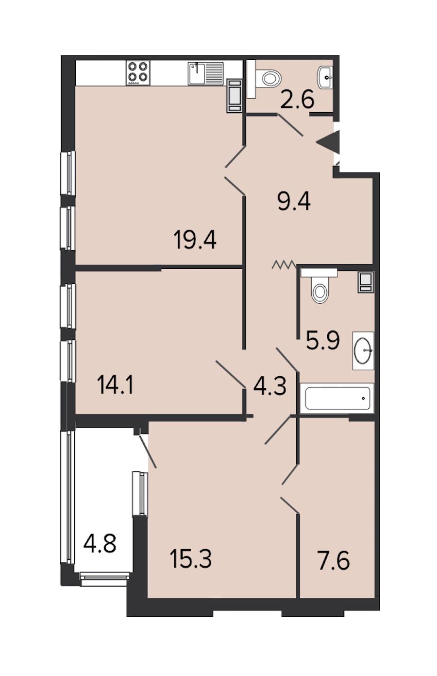 2-комнатная 78 м<sup>2</sup> на 8 этаже