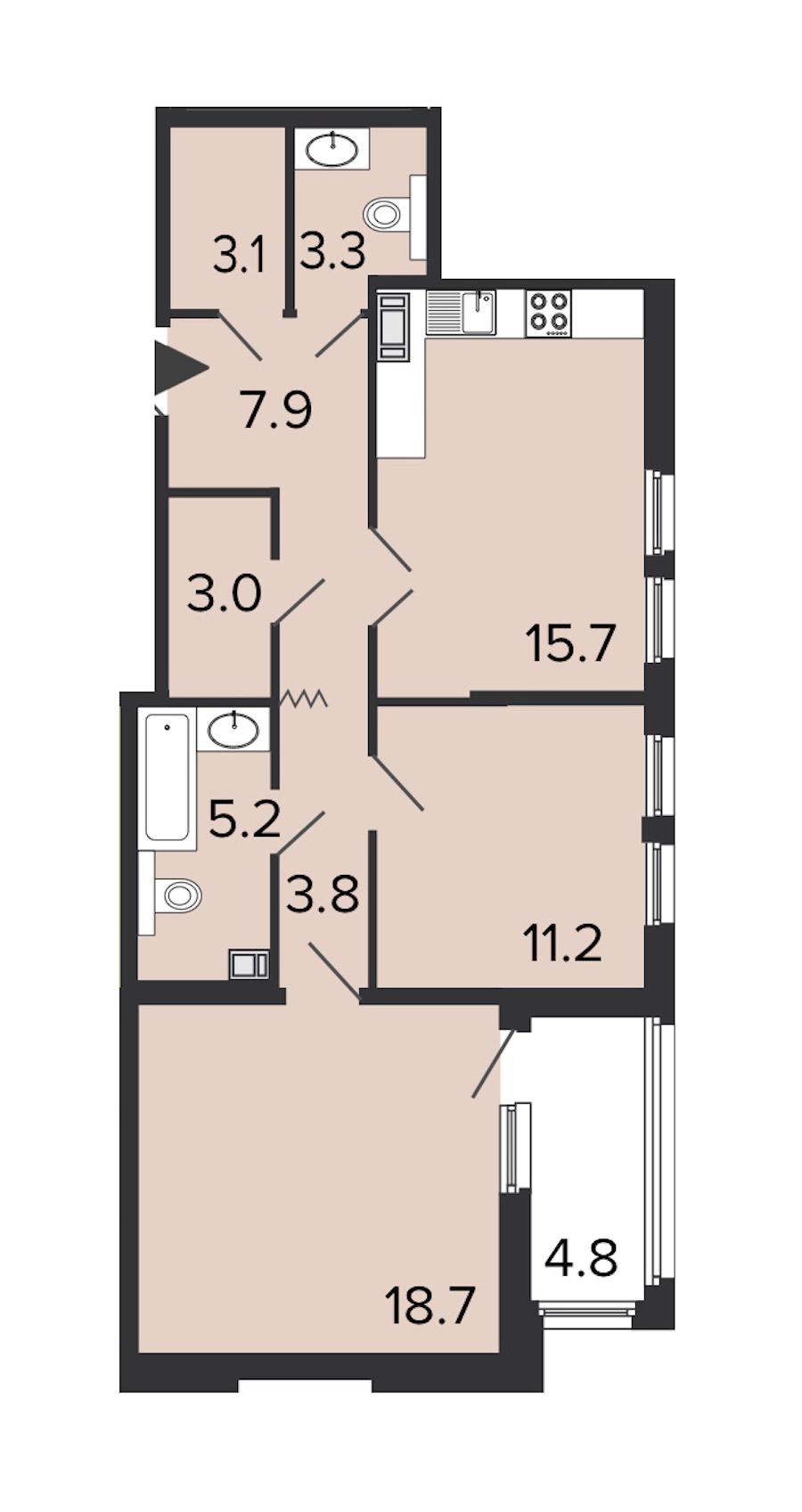 2-комнатная 71 м<sup>2</sup> на 4 этаже