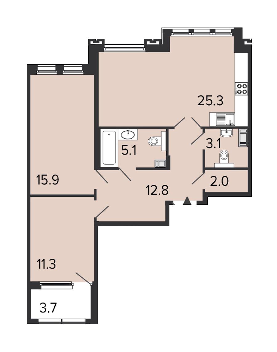 2-комнатная 75 м<sup>2</sup> на 4 этаже