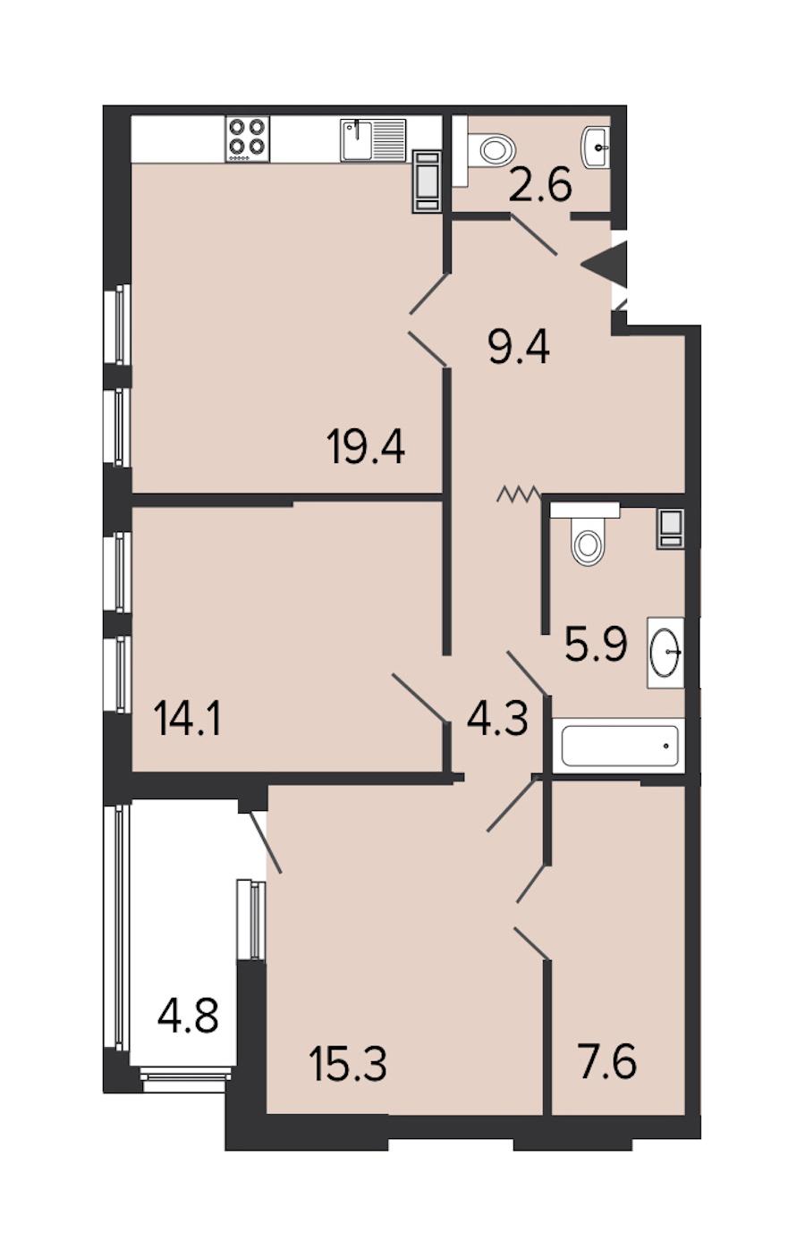 2-комнатная 78 м<sup>2</sup> на 4 этаже